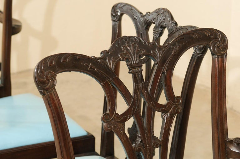 Set of 12 Chippendale Style Mahogany Dining Chairs, England, circa 1890 For Sale 4
