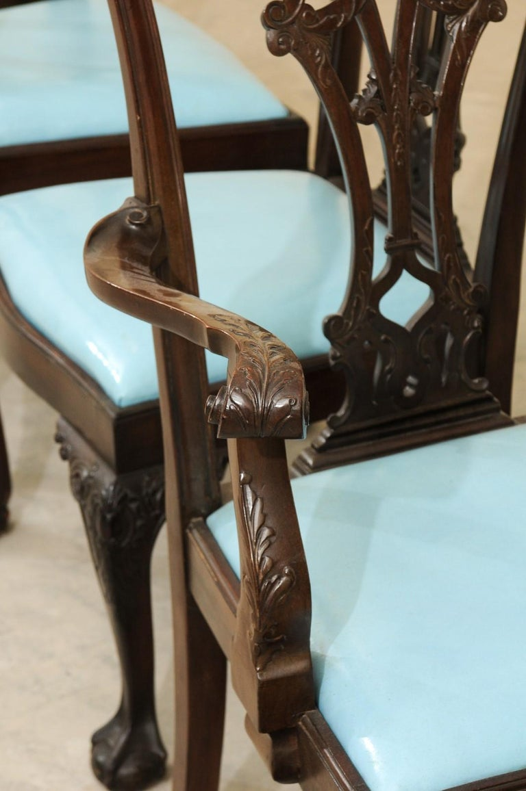 Set of 12 Chippendale Style Mahogany Dining Chairs, England, circa 1890 For Sale 5