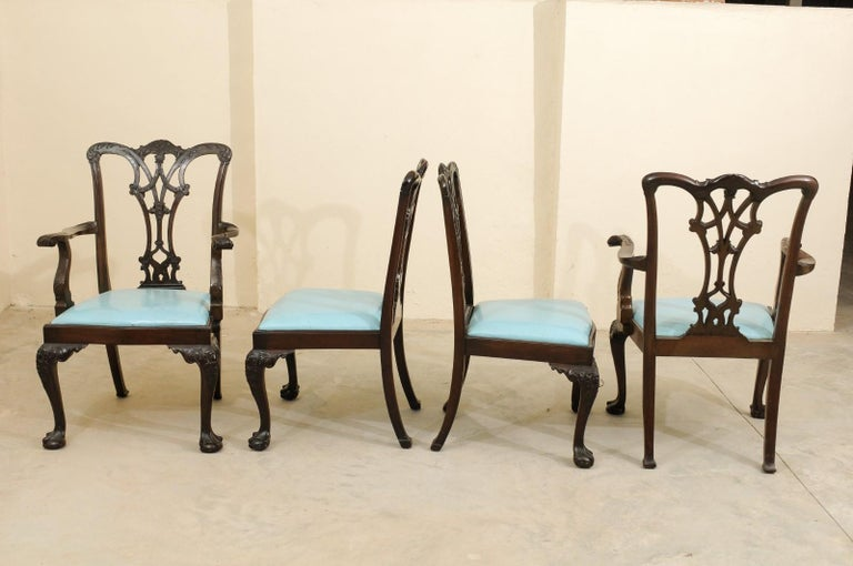 Set of 12 Chippendale Style Mahogany Dining Chairs, England, circa 1890 For Sale 6