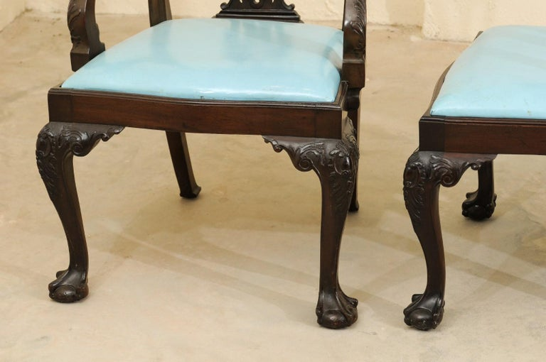 Set of 12 Chippendale Style Mahogany Dining Chairs, England, circa 1890 For Sale 7