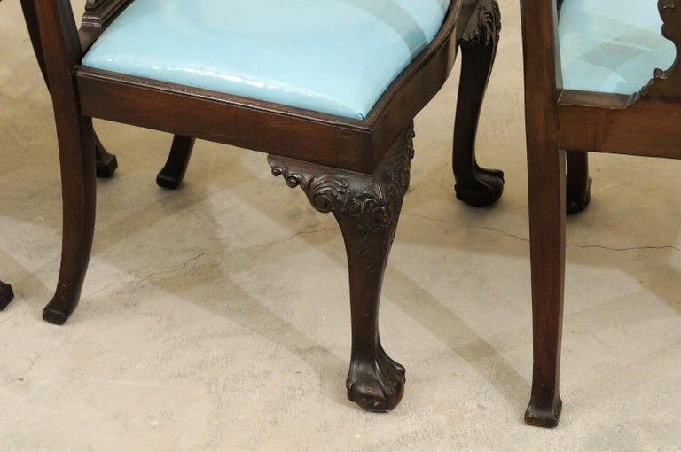 Set of 12 Chippendale Style Mahogany Dining Chairs, England, circa 1890 For Sale 8