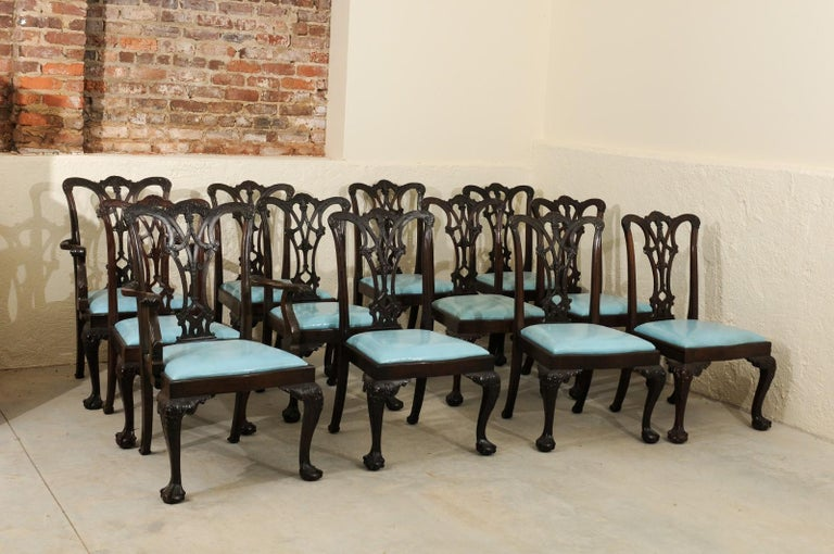 Set of 12 Chippendale Style Mahogany Dining Chairs, England, circa 1890 For Sale 9