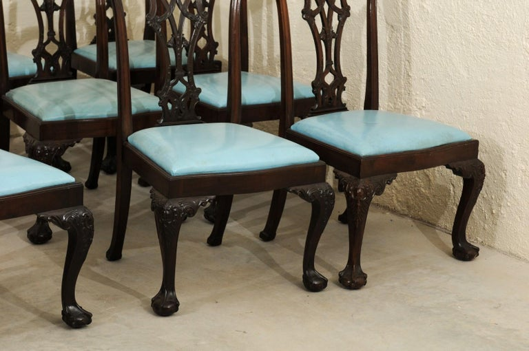 Set of 12 Chippendale Style Mahogany Dining Chairs, England, circa 1890 For Sale 10
