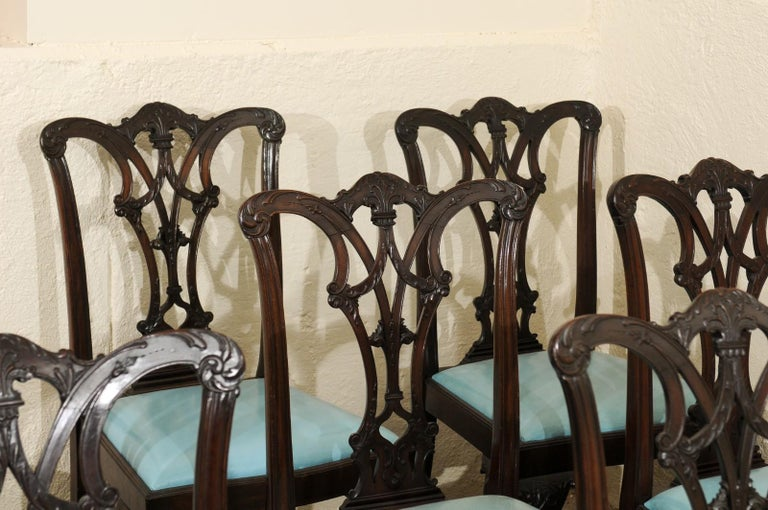 Set of 12 Chippendale Style Mahogany Dining Chairs, England, circa 1890 For Sale 11