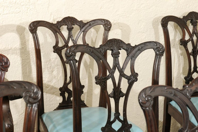 Set of 12 Chippendale Style Mahogany Dining Chairs, England, circa 1890 For Sale 12