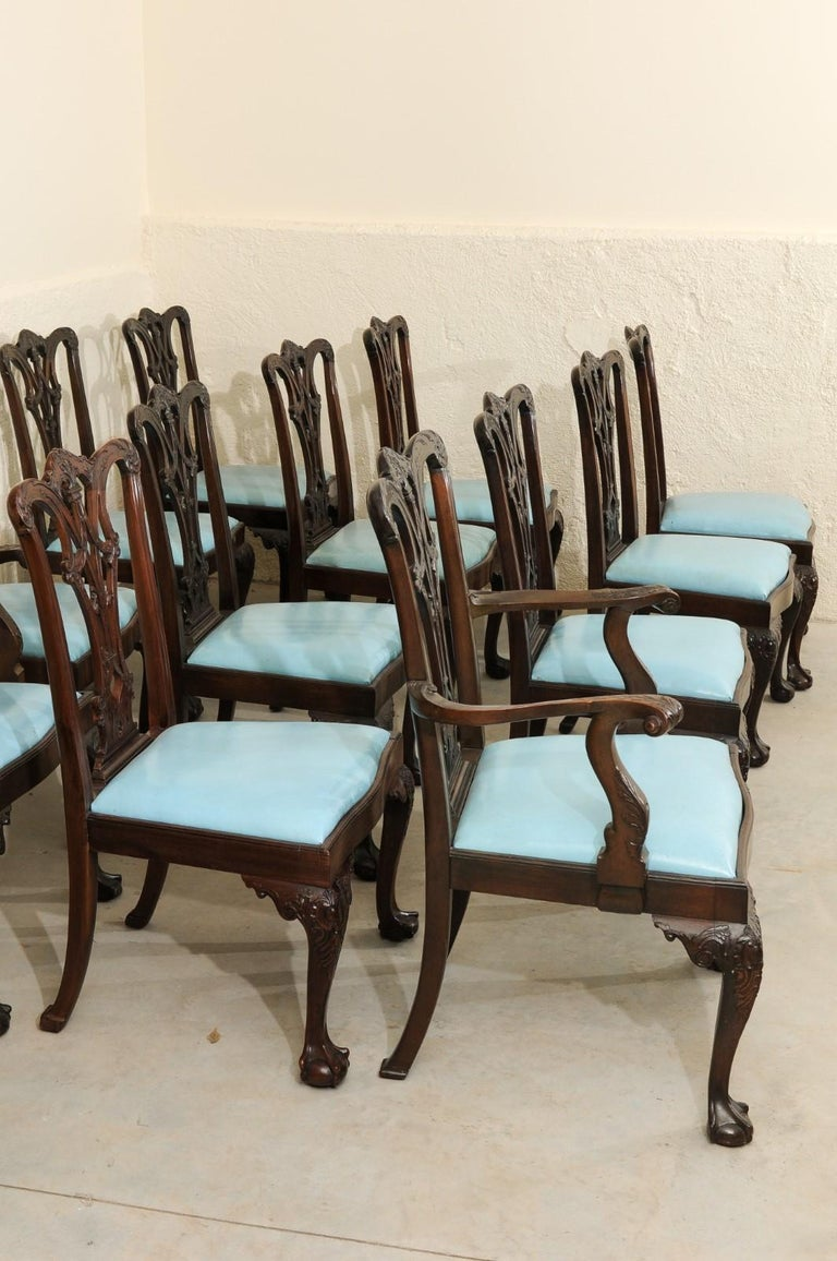 Set of 12 Chippendale Style Mahogany Dining Chairs, England, circa 1890 For Sale 13