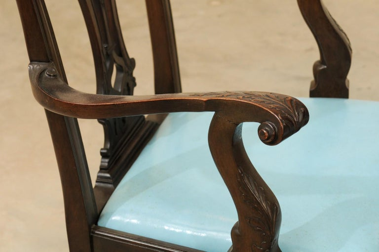 Set of 12 Chippendale Style Mahogany Dining Chairs, England, circa 1890 In Good Condition For Sale In Atlanta, GA