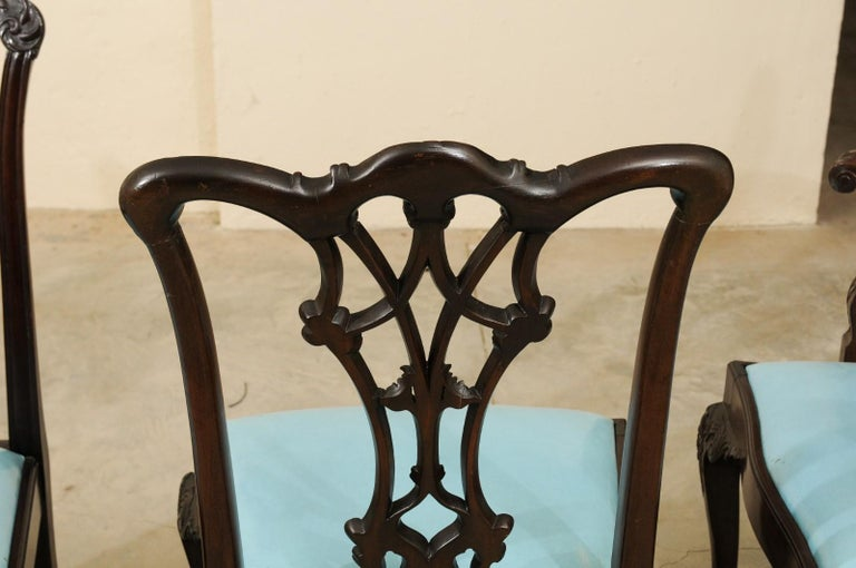 19th Century Set of 12 Chippendale Style Mahogany Dining Chairs, England, circa 1890 For Sale