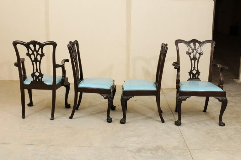 Leather Set of 12 Chippendale Style Mahogany Dining Chairs, England, circa 1890 For Sale