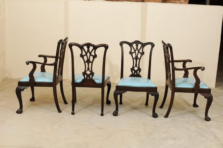 Set of 12 Chippendale Style Mahogany Dining Chairs, England, circa 1890 For Sale 1