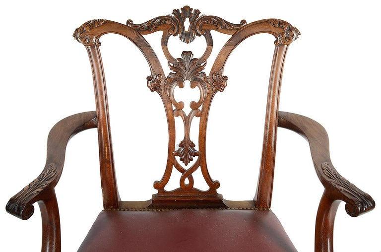 Carved Set of 12 Chippendale Style Mahogany Dining Chairs For Sale