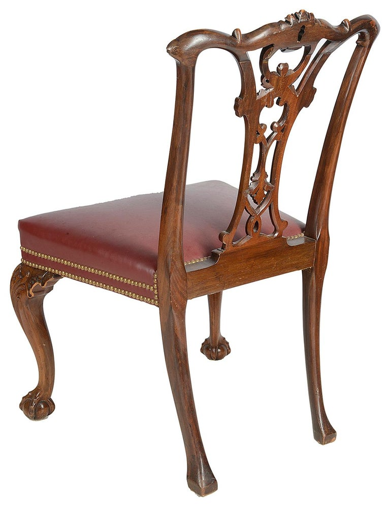 Set of 12 Chippendale Style Mahogany Dining Chairs For Sale 1