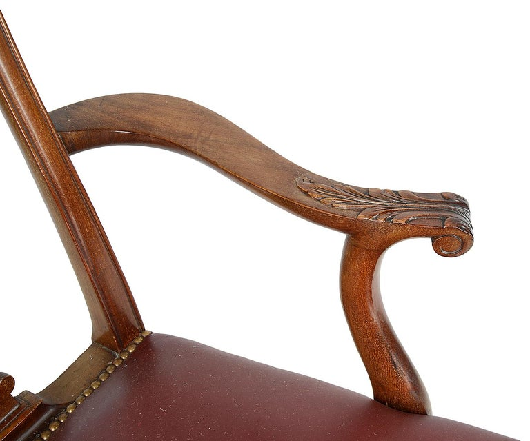 Set of 12 Chippendale Style Mahogany Dining Chairs For Sale 3