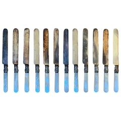 Set of 12 circa 1855 American Sterling Silver and Mother of Pearl Meriden Knives