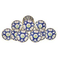 Set of 12 Coalport Hand Painted Exotic Bird Lapis Blue & Gilt Soup Bowls Plates