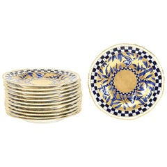 Set of 12 Coalport Japonesque Aesthetic Movement Cobalt Blue & Gold Side Plates