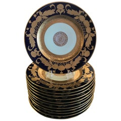 Set of 12 Cobalt and Gilt Service Dinner Plates