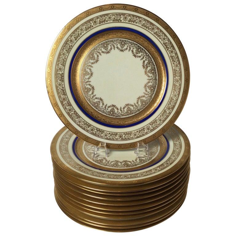 Set of 12 Cobalt and Gilt Service Dinner Plates For Sale
