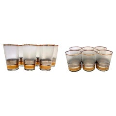 Set of 12 Collins and High Ball Culver Glasses with 22 K Gold, Regency Pattern