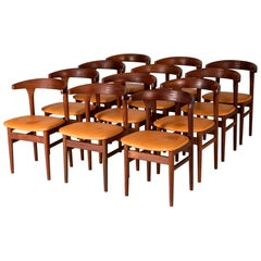 """Set of 12 """"cowhorn"""" Dining Chairs by Torbjørn Afdal"""