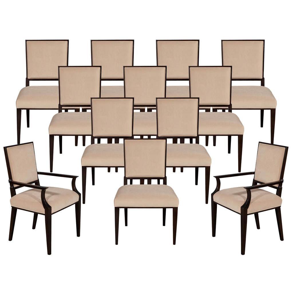 Set of 12 Custom Modern Walnut Dining Chairs