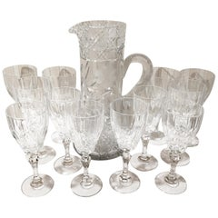 Set of 12 Cut Crystal Wine Glasses and Pitcher, 13 Pieces