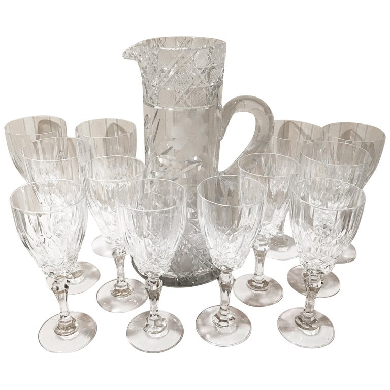 Set Of 12 Cut Crystal Wine Glasses And Pitcher 13 Pieces For Sale