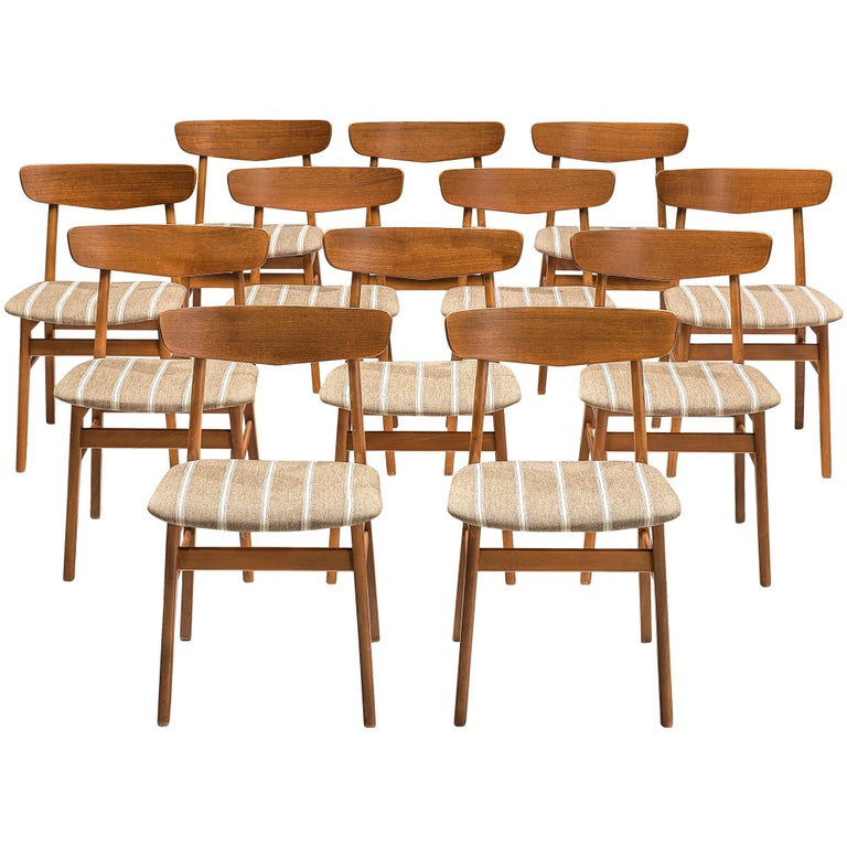 Set of 12 Danish Dining Chairs in Teak For Sale