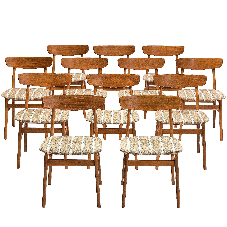 Set of 12 Danish Dining Chairs in Teak