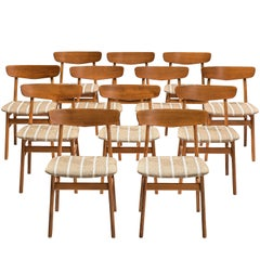 Set of 12 Danish Dining Chairs in Teak