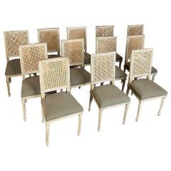 Set of 12 Dining Chairs, Antique French Louis XVI with Cane Seatbacks