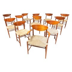 Set of 12 Dining Chairs by Hvidt and Mølgaard-Nielsen, Denmark, 1950s