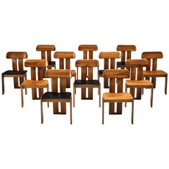 Set of 12 Dining Chairs by Sapporo in Walnut and Black and Cognac Leather