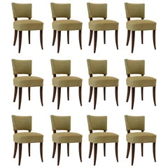 Set of 12 Dining Chairs, French 1930's, Celadon Horsehair Upholstery