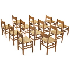 Set of 12 Dining Chairs in Oak with Rush Seating