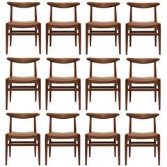 Set of 12 Dining Chairs model W2 by Hans J. Wegner, 1954