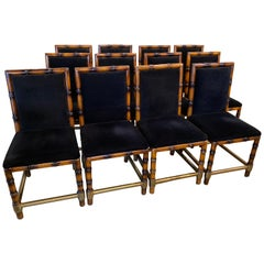Set of 12 Dining Chairs of Faux Bamboo and Brass, France