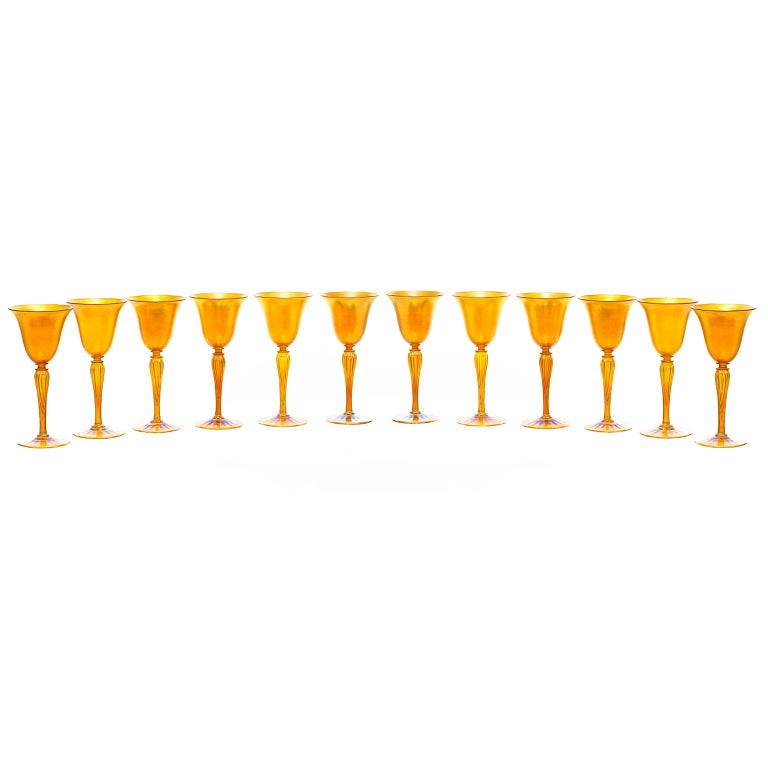 Art Deco Set of 12 Durand Gold Lustre Art Glass Water Goblets For Sale