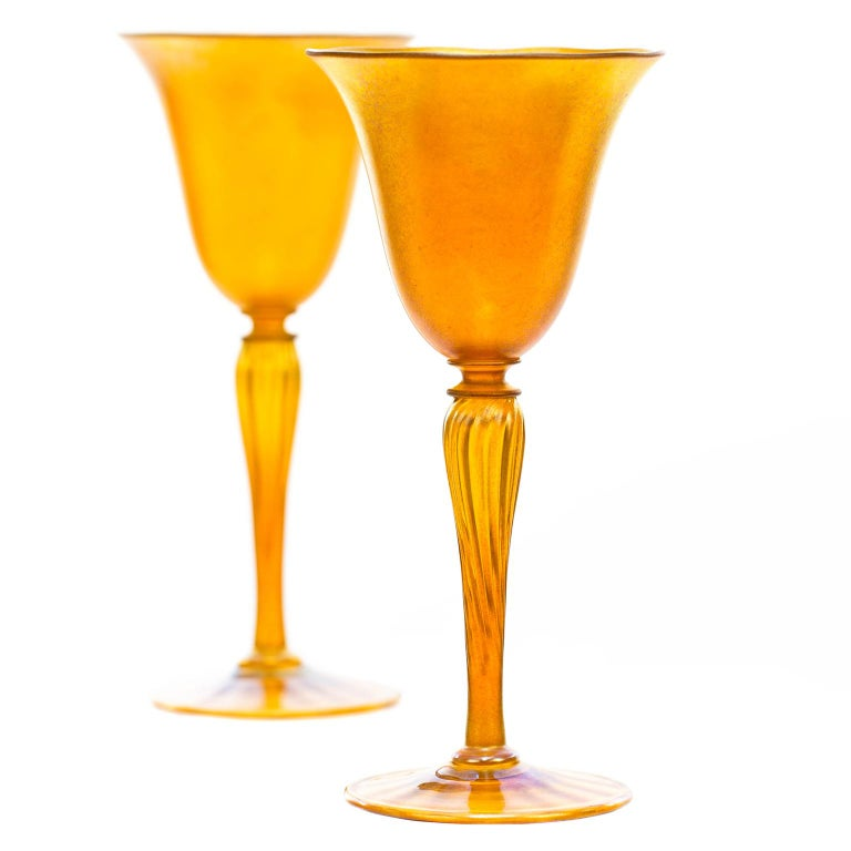 American Set of 12 Durand Gold Lustre Art Glass Water Goblets For Sale