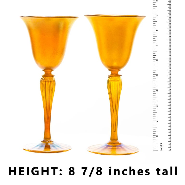 Early 20th Century Set of 12 Durand Gold Lustre Art Glass Water Goblets For Sale
