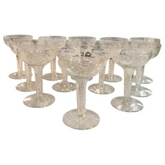 Set of 12 Early 20th Century Champagne Coupes with Hollow Stems