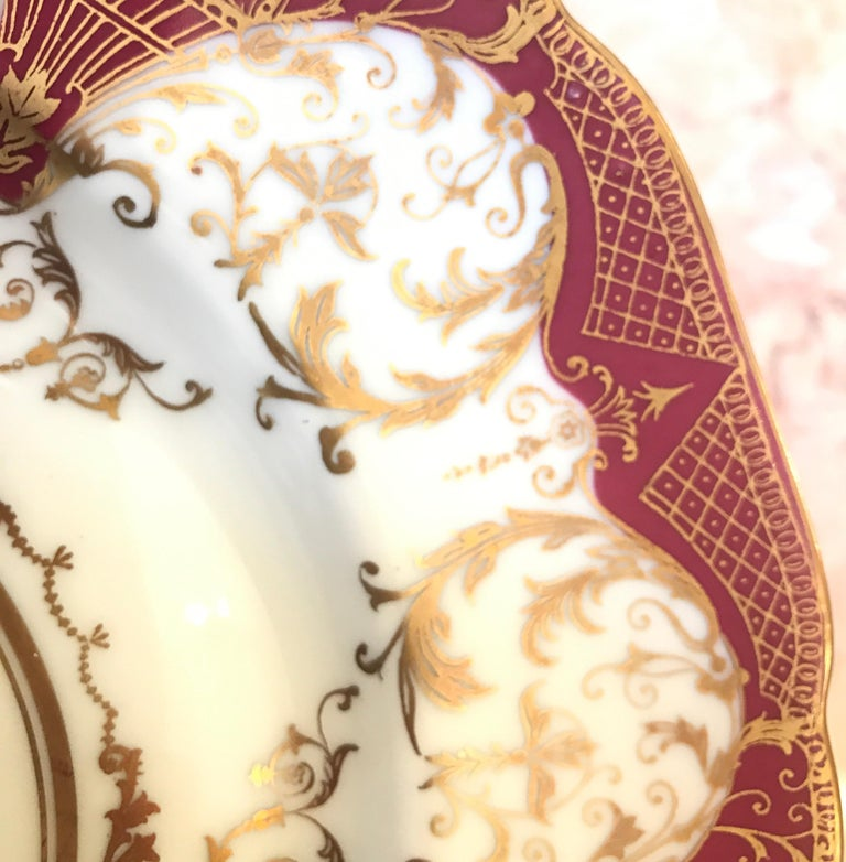 Set of 12 Elaborate Gilt Service Dinner Plates For Sale 4