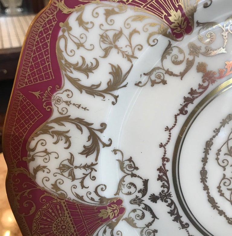 Edwardian Set of 12 Elaborate Gilt Service Dinner Plates For Sale
