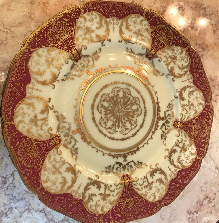 Porcelain Set of 12 Elaborate Gilt Service Dinner Plates For Sale