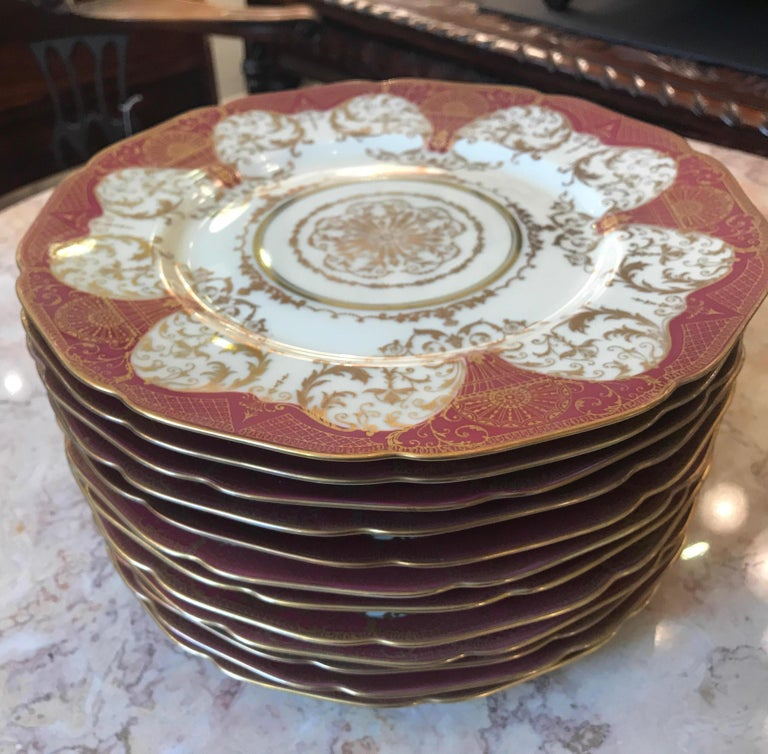 Set of 12 Elaborate Gilt Service Dinner Plates For Sale 1