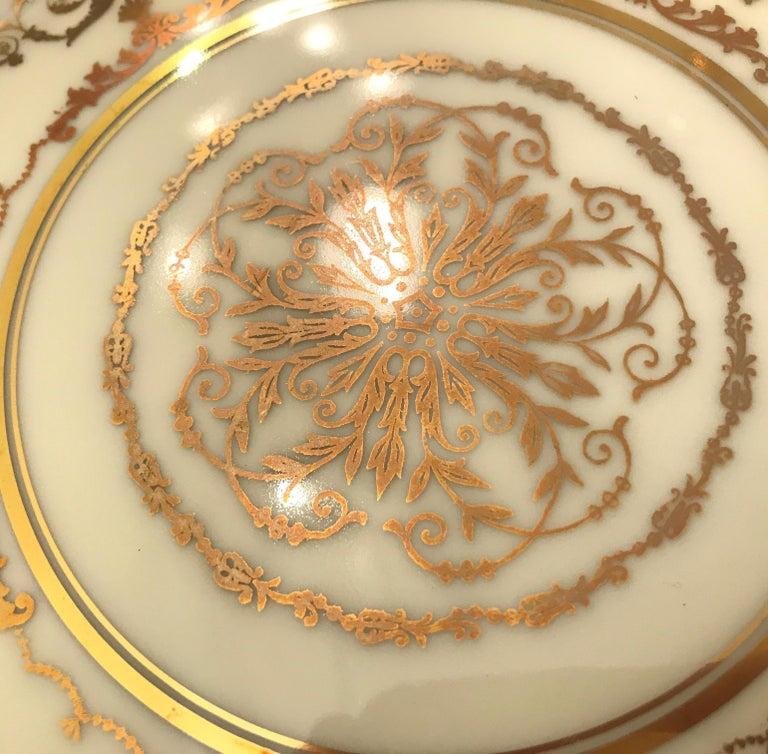Set of 12 Elaborate Gilt Service Dinner Plates For Sale 2
