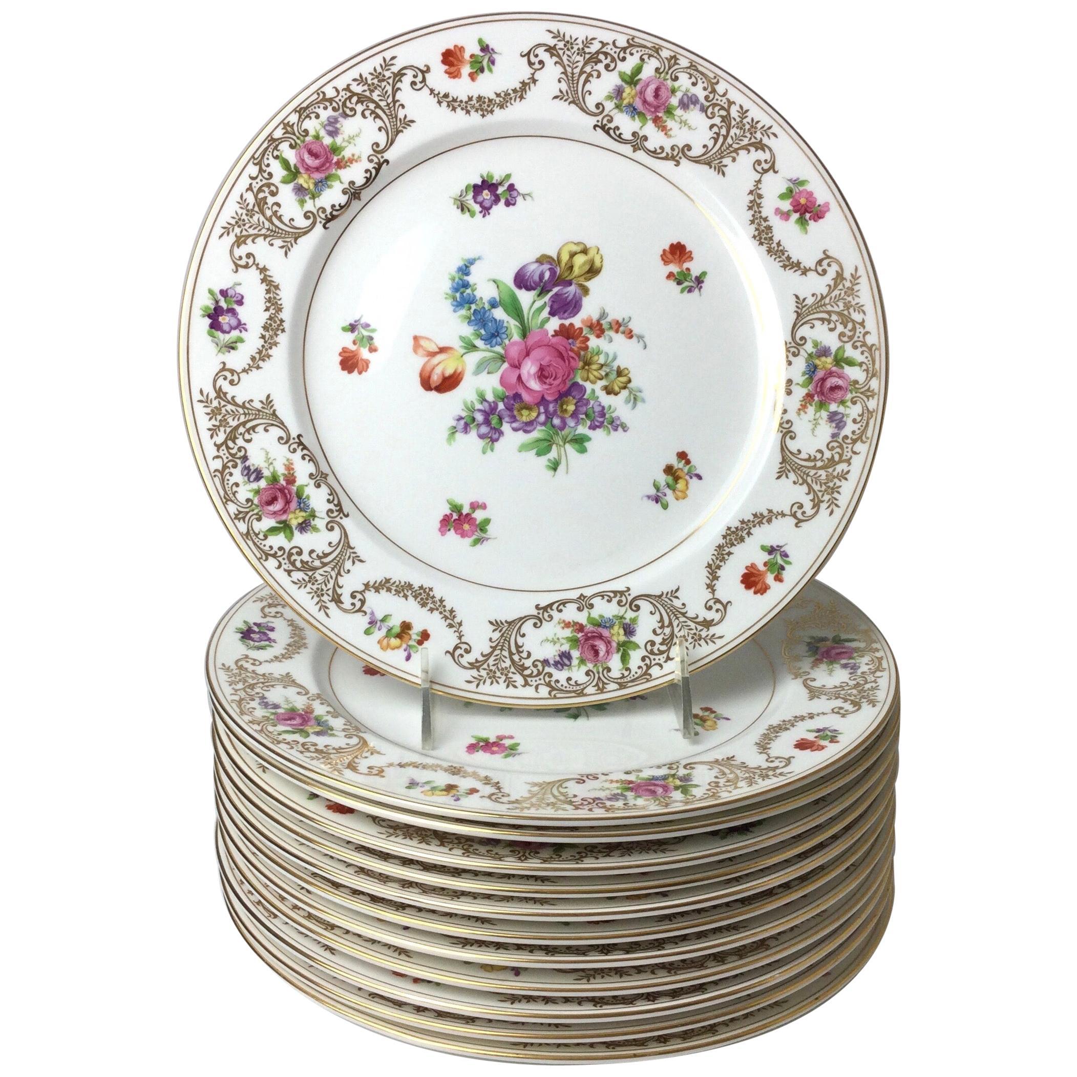 Set of 12 Elaborate Noritake Hand Painted Bone China Service Dinner Plates