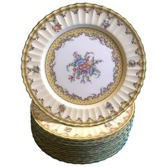 Set of 12 English Floral Service Dinner Plates by Royal Worcester