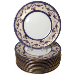 Set of 12 English Gilt and Floral Service Dinner Plates, circa 1910