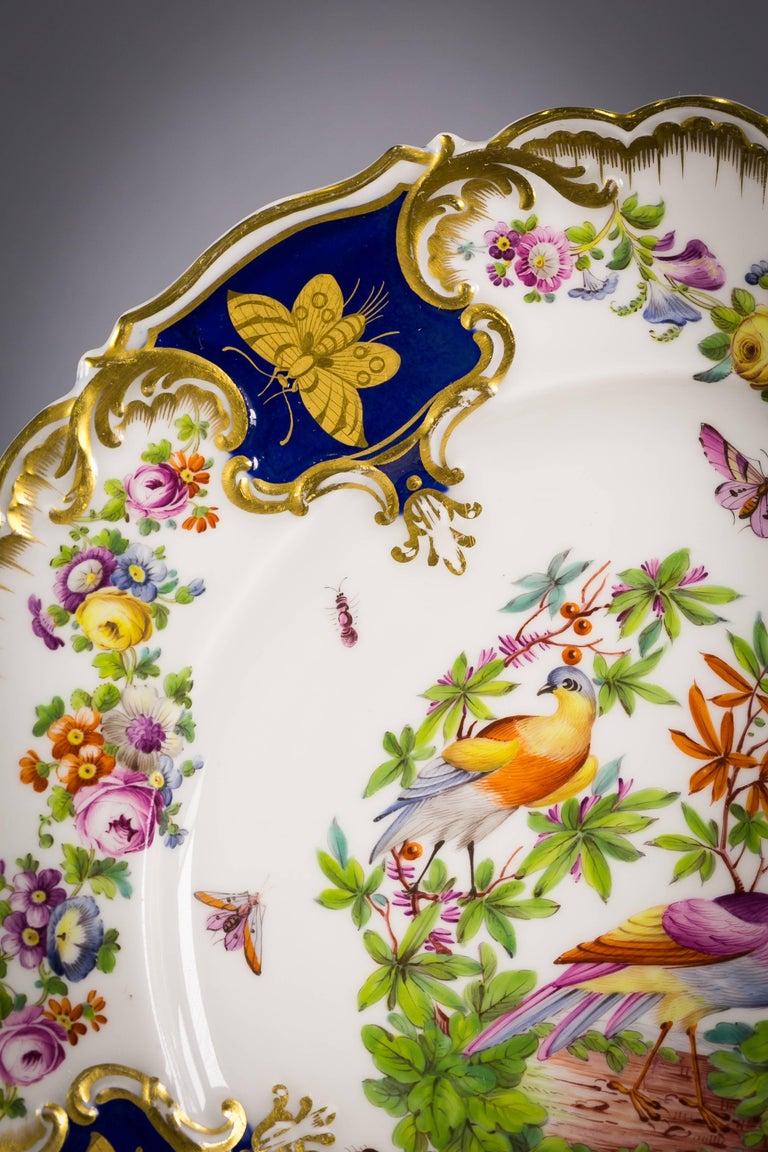 Set of 12 English porcelain plates, Coalbrookdale, circa 1850.